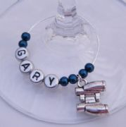 Binoculars Personalised Wine Glass Charm